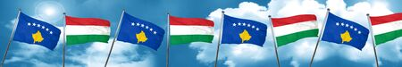 Kosovo flag with Hungary flag, 3D rendering
