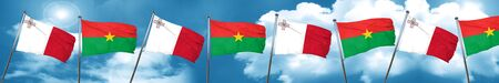 Malta flag with Burkina Faso flag, 3D rendering Stock Photo