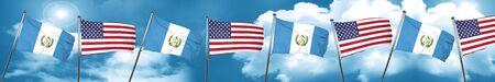 bandera de guatemala: guatemala flag with American flag, 3D rendering