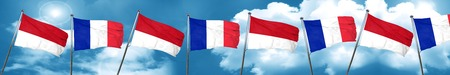 french culture: monaco flag with France flag, 3D rendering Stock Photo