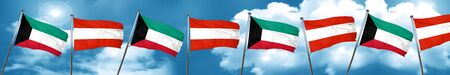 Kuwait flag with Austria flag, 3D rendering