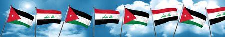 Jordan flag with Iraq flag, 3D rendering