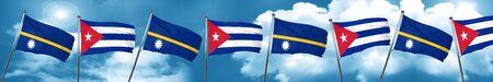 Nauru flag with cuba flag, 3D rendering Stock Photo