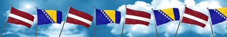 Latvia flag with Bosnia and Herzegovina flag, 3D rendering Stock Photo