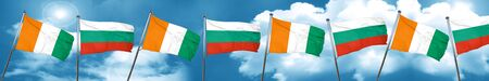 bulgarian: Ivory coast flag with Bulgaria flag, 3D rendering