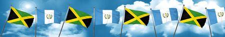 guatemalan: Jamaica flag with Guatemala flag, 3D rendering