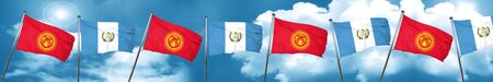 bandera de guatemala: Kyrgyzstan flag with Guatemala flag, 3D rendering