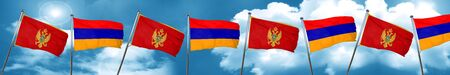 Montenegro flag with Armenia flag, 3D rendering