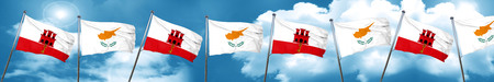gibraltar flag with Cyprus flag, 3D rendering