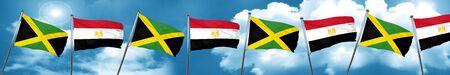 bandera de egipto: Bandera de Jamaica con bandera de Egipto, representación 3D Foto de archivo