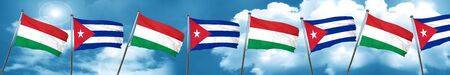 cuban culture: Hungary flag with cuba flag, 3D rendering Stock Photo