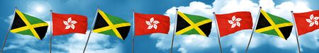 jamaican: Jamaica flag with Hong Kong flag, 3D rendering