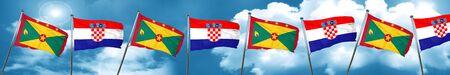 grenada: Grenada flag with Croatia flag, 3D rendering