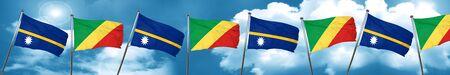 Nauru flag with congo flag, 3D rendering Stock Photo