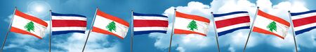 Lebanon flag with Costa Rica flag, 3D rendering Stock Photo