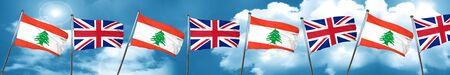 bandera de Líbano con la bandera de Gran Bretaña, 3D Foto de archivo