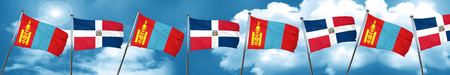 Mongolia flag with Dominican Republic flag, 3D rendering Stock Photo