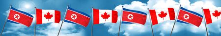 North Korea flag with Canada flag, 3D rendering