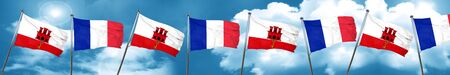 french culture: gibraltar flag with France flag, 3D rendering