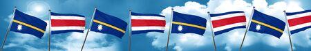 Nauru flag with Costa Rica flag, 3D rendering Stock Photo