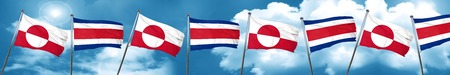 greenland flag with Costa Rica flag, 3D rendering