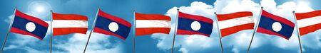Laos flag with Austria flag, 3D rendering