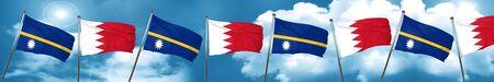 combines: Bandera de Nauru con la bandera de Bahrein, representación 3D