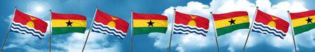 Kiribati flag with Ghana flag, 3D rendering