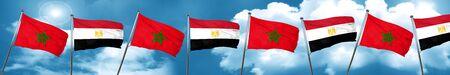 bandera de egipto: Bandera de Marruecos con la bandera de Egipto, representación 3D
