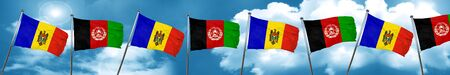 Moldova flag with afghanistan flag, 3D rendering Stock Photo