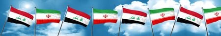 Iraq flag with Iran flag, 3D rendering