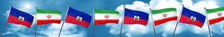 Haiti flag with Iran flag, 3D rendering