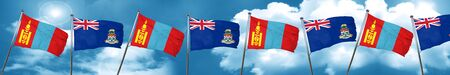 Mongolia flag with Cayman islands flag, 3D rendering