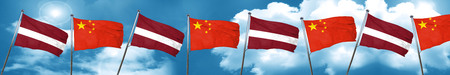 Latvia flag with China flag, 3D rendering
