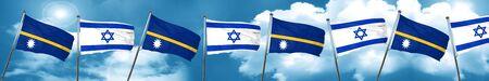 Nauru flag with Israel flag, 3D rendering Stock Photo