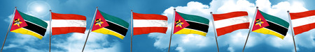 Mozambique flag with Austria flag, 3D rendering Stock Photo