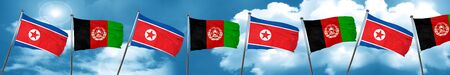North Korea flag with afghanistan flag, 3D rendering Stock Photo
