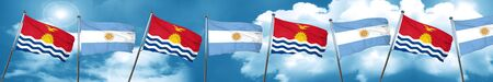 Kiribati flag with Argentine flag, 3D rendering