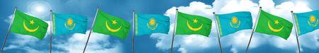 Mauritania flag with Kazakhstan flag, 3D rendering