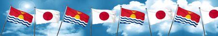 Kiribati flag with Japan flag, 3D rendering Stock Photo
