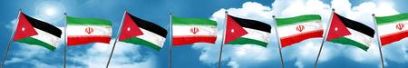 Jordan flag with Iran flag, 3D rendering