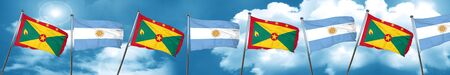 Grenada flag with Argentine flag, 3D rendering Stock Photo