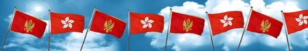 Montenegro flag with Hong Kong flag, 3D rendering Stock Photo