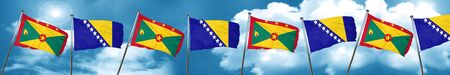 Grenada flag with Bosnia and Herzegovina flag, 3D rendering Stock Photo