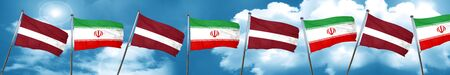 Latvia flag with Iran flag, 3D rendering