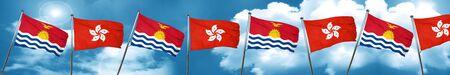 Kiribati flag with Hong Kong flag, 3D rendering Stock Photo
