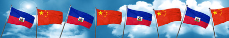 Haiti flag with China flag, 3D rendering Stock Photo
