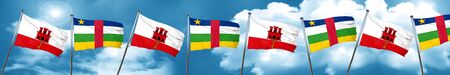 gibraltar: gibraltar flag with Central African Republic flag, 3D rendering Stock Photo
