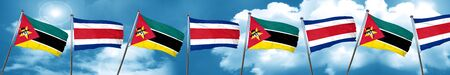Mozambique flag with Costa Rica flag, 3D rendering Stock Photo