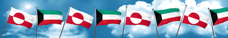 greenland flag with Kuwait flag, 3D rendering